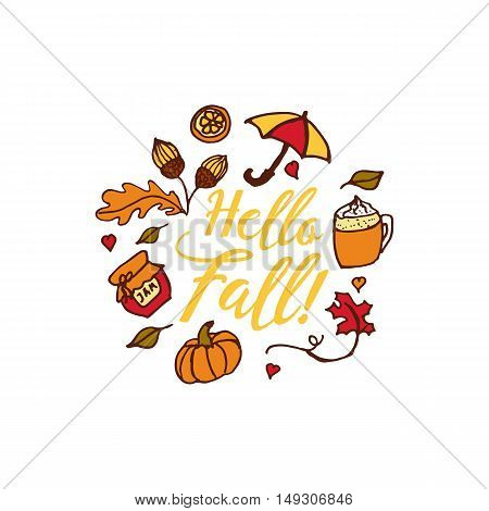 Hand drawn autumn elements with umbrella, hearts and hello fall inscription in center on white background