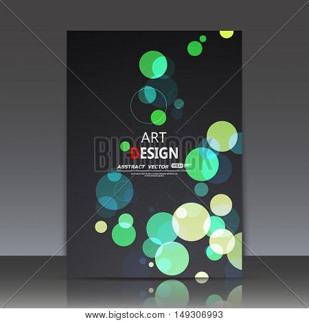 Abstract Composition, Geometric Shapes Icon, Green Bubbles Ornament, A4 Brochure Title Sheet, Round