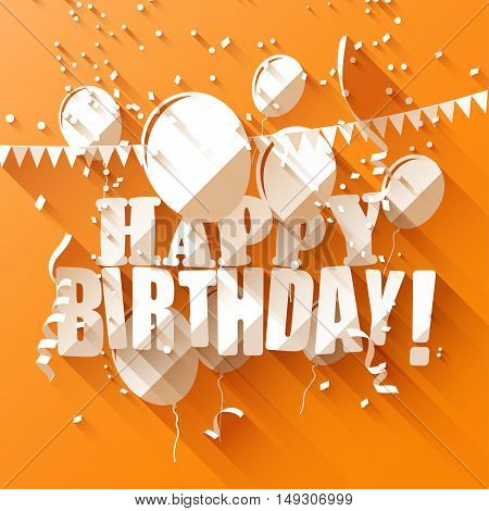 Birthday greeting card with paper balloons on orange background - flat design style