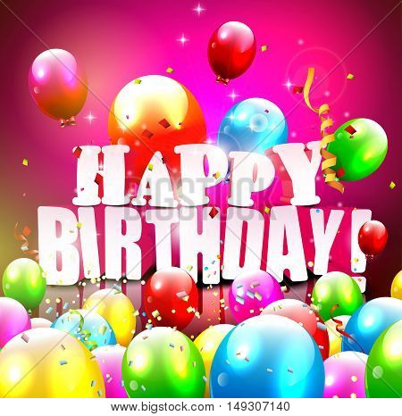 Birthday greeting card with colorful balloons and confetti