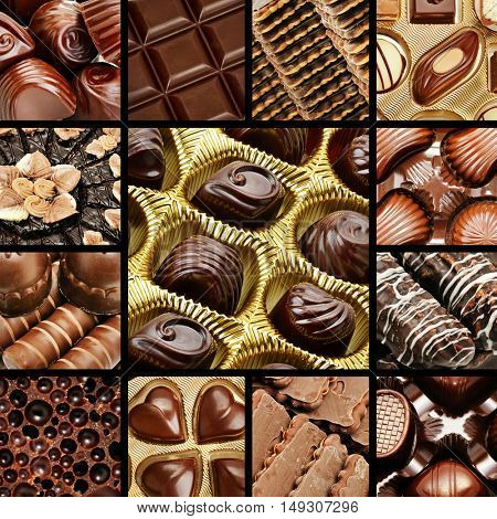 collage of chocolates and biscuits. Sweet background.