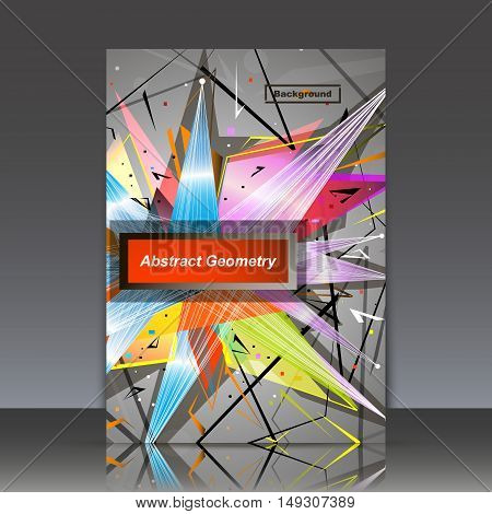Abstract Composition, Geometric Explosion, Triangle Patchwork Ornament, A4 Brochure Title Sheet, Log