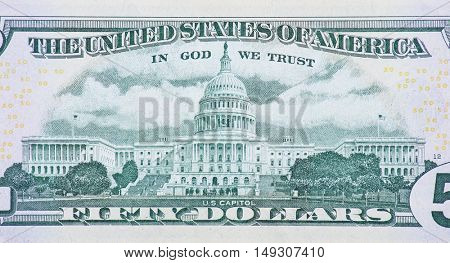 US Capitol on back of fifty dollar note