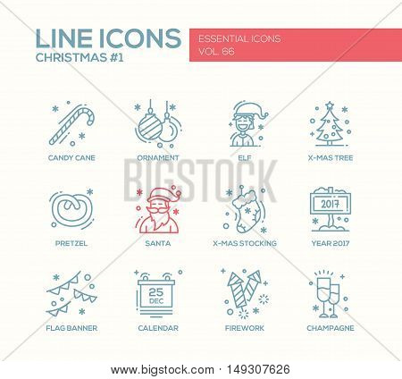 Christmas and New Year - set of modern vector simple line design icons and pictograms. Santa, ornament, elf, x-mas tree, pretzel, candy cane, stocking, year 2017, flag banner, calendar, firework, champagne