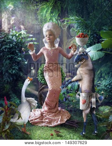 fantasy work with a little girl surrounded by animals