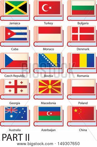 Flags of Europe, America and Asia featured on the covers of dictionaries with country names.