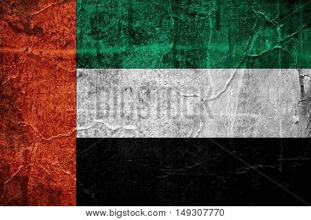 Flag of United Arab Emirates image is overlaid with grunge texture