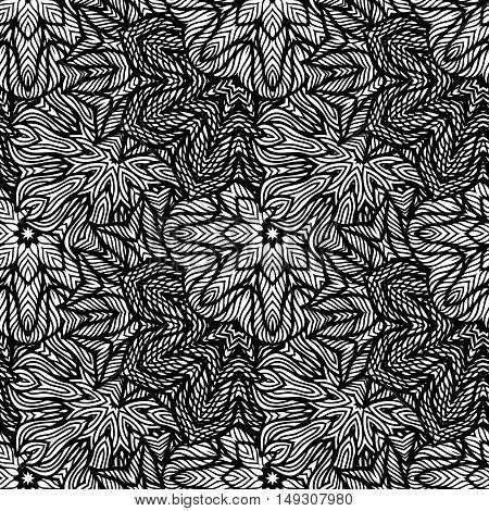 Seamless background, black white pattern, vector illustration