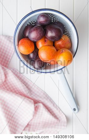 Yellow and purple plums in colander on white table. Top view.