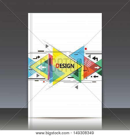 Abstract Composition, A4 Brochure Title Sheet, Geometric Shape, Flying Triangle Icon, Logo Construct