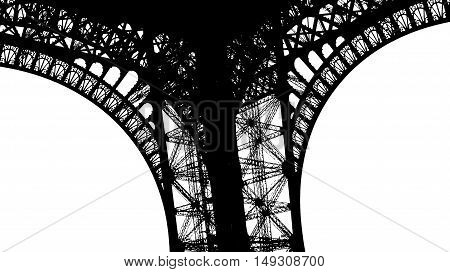 The bottom of Eiffel tower viewed as lace lingerie