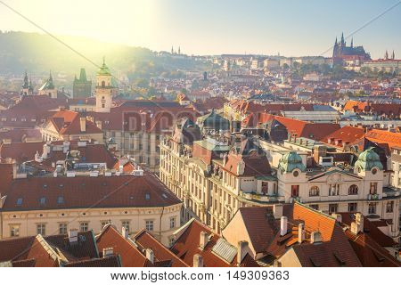 Panoramic Aerial view of Prague city with red rooftops , beautiful old city center, Czech Republic, European travel