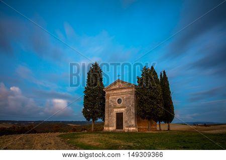 Long Exposure Famous Tuscany Landscape of Chapel of Madonna di Vitaleta at night. Tuscany, Italy, Europe