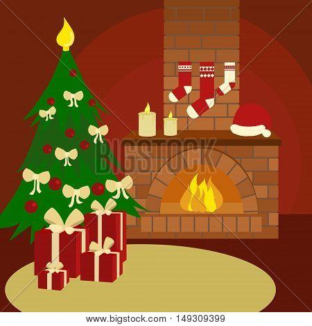 Christmas still life. Colorful hand drawn cartoon vector illustration