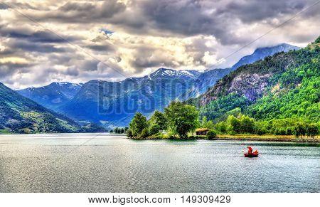 Oppstrynsvatn lake at Hjelle village, Sogn og Fjordane county, Norway