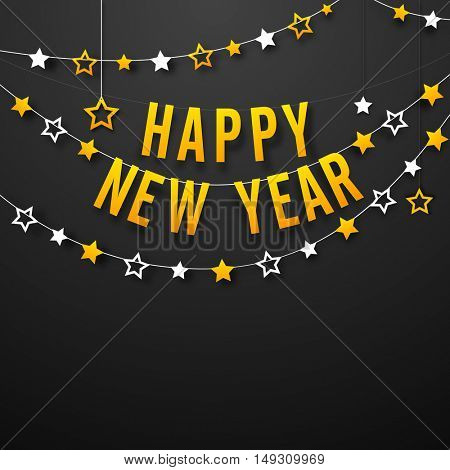 Beautiful Greeting Card with Stars bunting for Happy New Year Celebration.