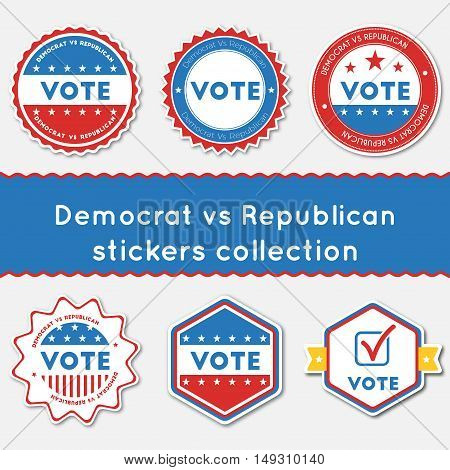 Democrat Vs Republican Stickers Collection. Buttons Set For Usa Presidential Elections 2016. Collect
