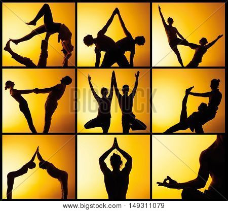 The collage from images of two silhouettes of people practicing yoga in the sunset light