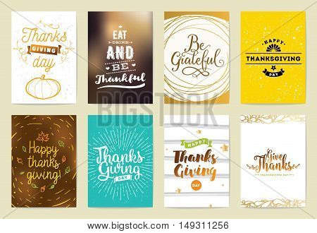 Thanksgiving day greeting cards set. Design with typography and abstact backgrounds.