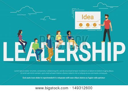 Project leadership concept illustration of team leader showing to his colleagues a new idea. Business people sitting on the letters leadership. Flat design for website banner and landing page