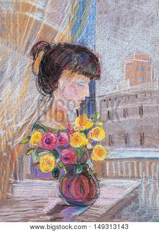 girl sitting on chair near  the window