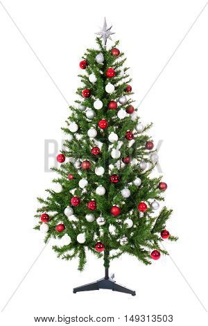 Christmas Tree With Colorful Balls Isolated On White