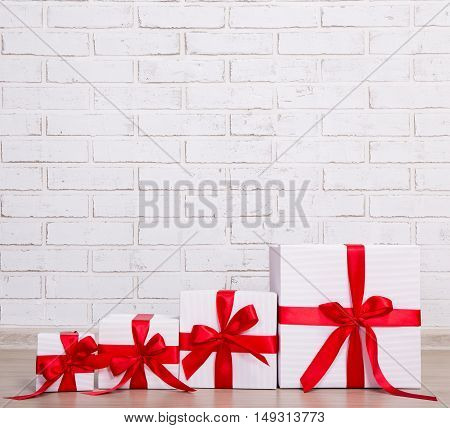 Christmas Background - Gift Boxes Over Brick Wall