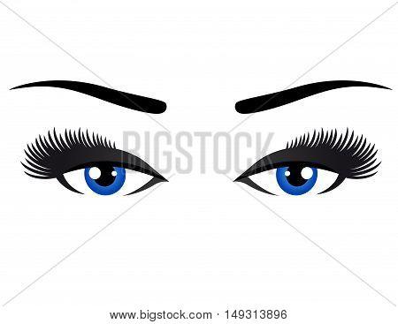 blue eyes with long eyelashes on white background