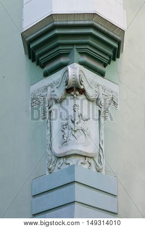 bas-relief on the wall of the old town hall in Mukachevo Ukraine
