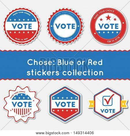 Chose: Blue Or Red Stickers Collection. Buttons Set For Usa Presidential Elections 2016. Collection