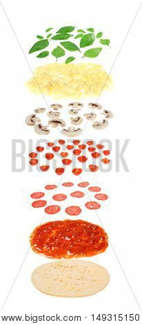 Layers of pizza isolated on white