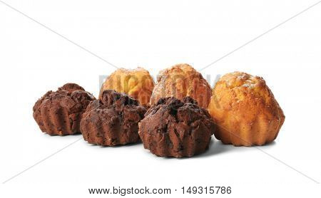 Sweet tasty muffins, isolated on white