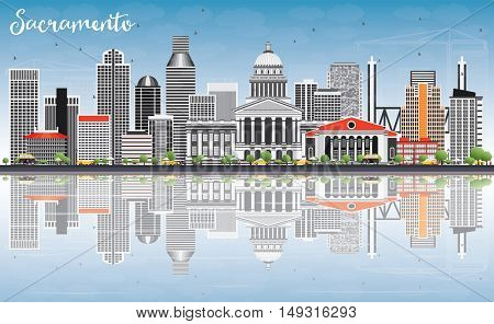 Sacramento Skyline with Gray Buildings, Blue Sky and Reflections. Vector Illustration. Business Travel and Tourism Concept with Modern Architecture. Image for Presentation Banner Placard and Web Site.