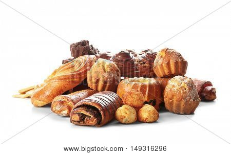 Assortment of sweet tasty pastries isolated on white
