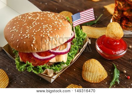 Hamburger  on wooden background