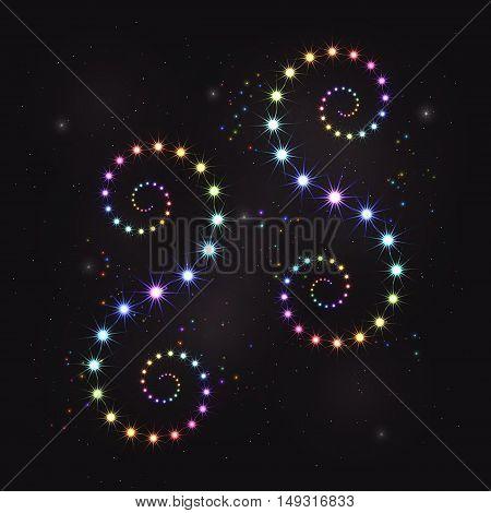 Rainbow colorful star curls spiral decoration element
