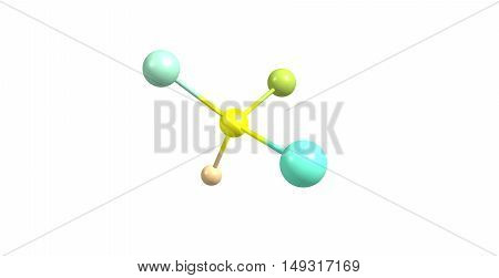 Bromochlorofluoroiodomethane is a hypothetical haloalkane with all four stable halogen substituents present in it. 3d illustration