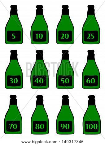A collection of green bottles with anniversary numbers