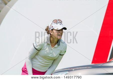 CHONBURI - FEBRUARY 28 : Kim Kaufman of USA in Honda LPGA Thailand 2016 at Siam Country Club Pattaya Old Course on February 28 2016 in Chonburi Thailand.
