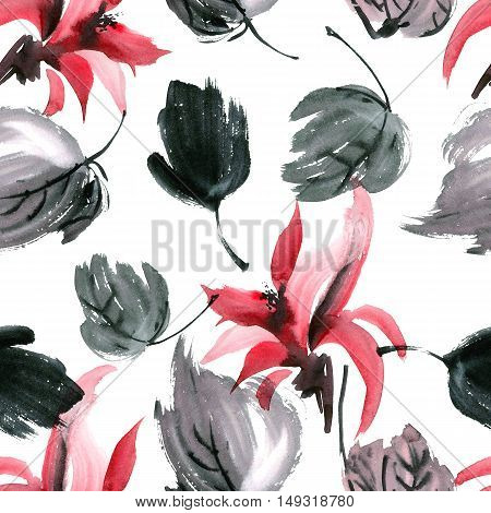 Watercolor painted red flowers and leaves. Sumi-e gohua. Seamless pattern.