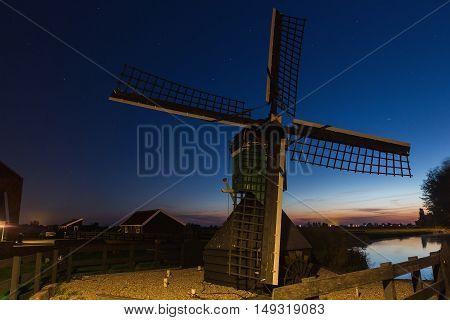 dutch wind mills at historical village