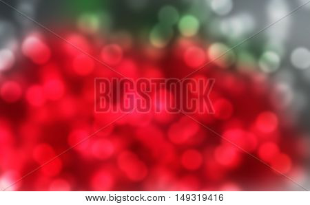 Red Green Silver Bokeh Background, gaussian blur.