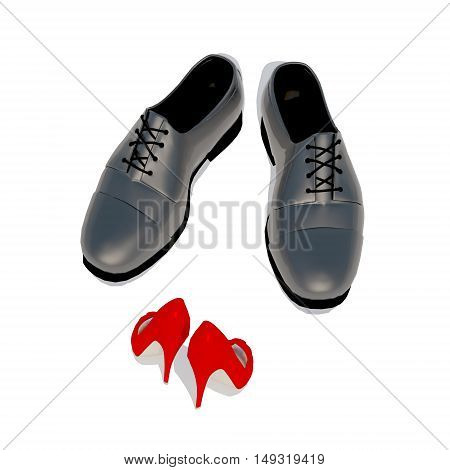 Man and woman first date meeting. Red women's shoes towards men's shoes. 3D illustration