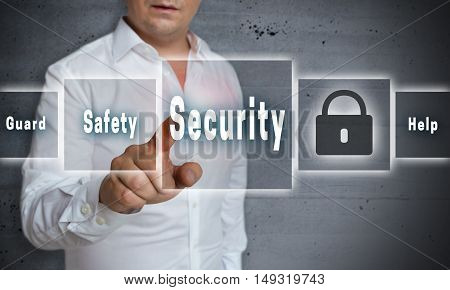 Security safty touchscreen concept background template picture