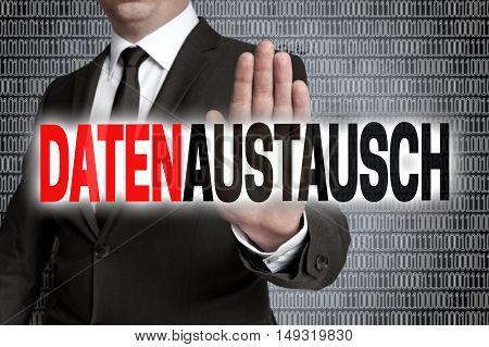 Datenaustausch (in German Data Exchange) With Matrix Is Shown By Businessman