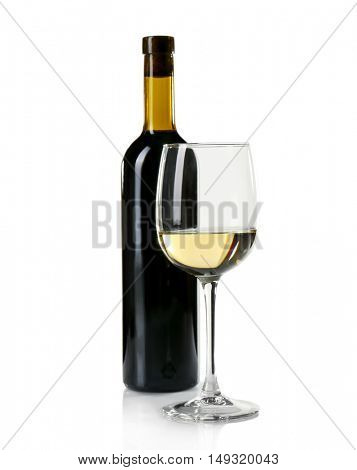 Glass of white wine with bottle on white background