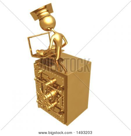 Geoz04354Golden Grad On Bank Safe With Laptop Graduation Concept