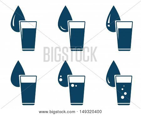 Set Of Water Glass With Drop