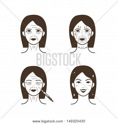 Woman face before and after facelift. Vector line illustration.