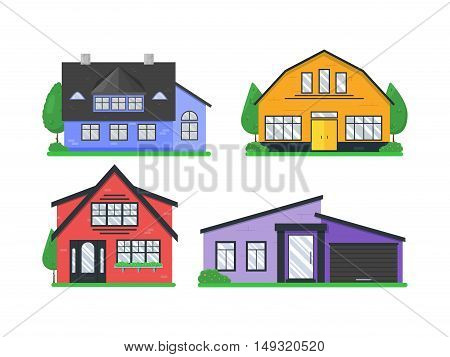 Detailed colorful flat cottage houses icons set. Collection of modern buildings exterior isolated on white. Real estate. Create your city with these objects or use for banners. Vector illustration